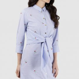 Blue Long Sleeve Tie Front Shirt Dress With Cherry Embroidery at Closet London
