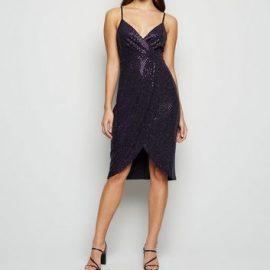 Blue Vanilla Dark Purple Metallic Cami Wrap Dress New Look at New Look UK