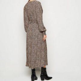 Brown Leopard Print Long Sleeve Wrap Midi Dress New Look at New Look UK