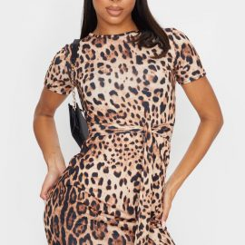 Brown Leopard T Shirt Tie Waist Dress
