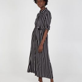 CALI- Stripe Maxi Shirt Dress - ONE / BLACK at Blue Vanilla