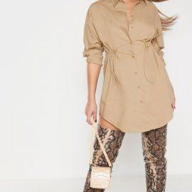 Camel Toggle Drawstring Shirt Dress