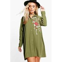 Carey Embroidered Shirt Dress - khaki - boohoo.com Nursing Clothes