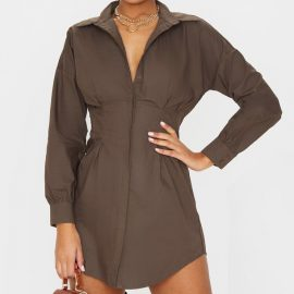 Chocolate Fitted Waist Shirt Dress