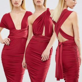 Club L London Club L Midi Multiway Ruched Slinky Dress