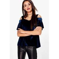 Cold Shoulder Velvet Top - navy - boohoo.com Nursing Clothes