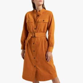 Corduroy Utility Midi Shirt Dress with Long Sleeves and Pockets at La Redoute
