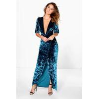 Crinkles Velvet Wrap Midi Dress - blue - boohoo.com Nursing Clothes