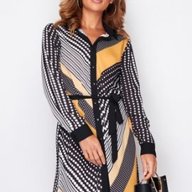 Dipped Hem Print Shirt Dress at Vestry Online