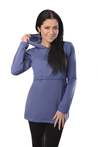 Discreet Soft Nursing And Breastfeeding Hoodie 9051, Blue Jeans