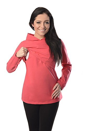 Discreet Soft Nursing And Breastfeeding Hoodie 9051, Coral