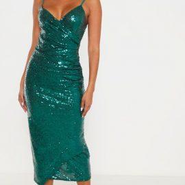 Emerald Green Sequin Wrap Over Midaxi Dress