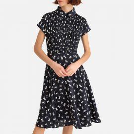 Floral Print Pleated Midi Shirt Dress at La Redoute