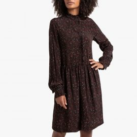 Floral Print Shirt Dress with Ruffles at La Redoute