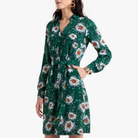 Floral Print Shirt Dress with Tie-Waist at La Redoute