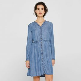 Fluid Denim Shirt Dress with Long Sleeves at La Redoute