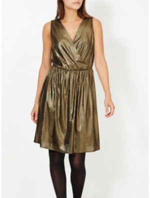 George Metallic Wrap Front Dress