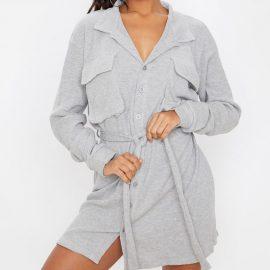 Grey Pocket Front Waffle Shirt Dress
