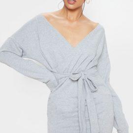 Grey Sweat Wrap Bodycon Dress