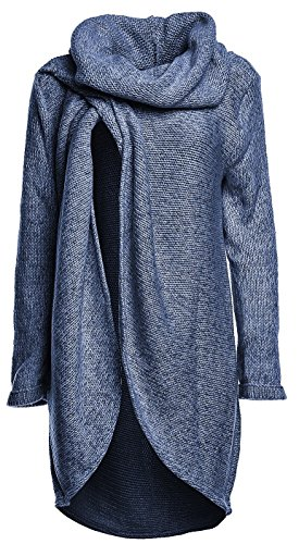 Happy Mama Women's Maternity Nursing Wrap Knitted Layered Jumper Pullover, Jeans Melange
