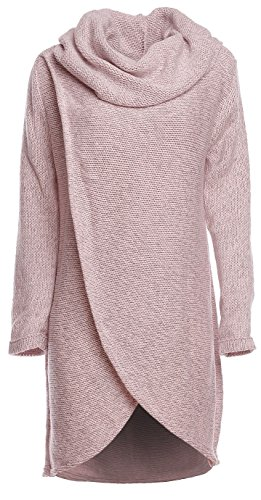 Happy Mama Women's Maternity Nursing Wrap Knitted Layered Jumper Pullover, Pink Melange