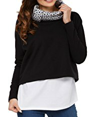 Happy Mama Womens Nursing Sweatshirt Breastfeeding Layered Top Maternity Black