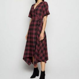 Innocence Red Check Wrap Midi Dress New Look at New Look UK