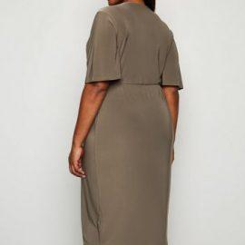 Just Curvy Khaki Wrap Midi Dress New Look at New Look UK