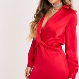 Katalea Red Twist Front Silky Shirt Dress