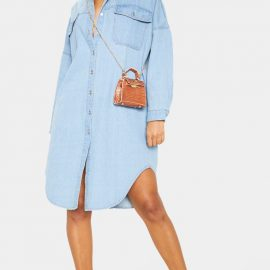 Light Wash Longline Oversized Denim Shirt Dress