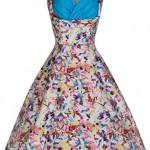 Lindy Bop 'Ophelia' Floral Kaleidoscope Print Vintage 50's Swing Dress