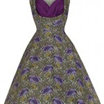 Lindy Bop 'Ophelia' Floral Print 1950's Vintage Inspired Swing Dress, Green