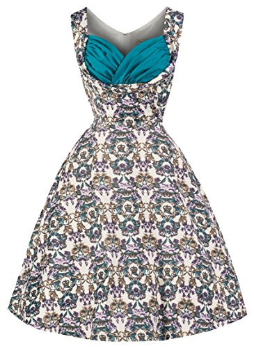 Lindy Bop 'Ophelia' Vintage 50's Majestic Floral Crown Print Swing Dress