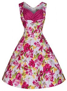 Lindy Bop 'Ophelia' Vintage 50's Pretty Pink Oasis Print Swing Dress