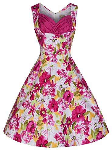 Lindy Bop 'Ophelia' Vintage 50's Pretty Pink Oasis Print Swing Dress