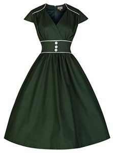 Lindy Bop 'Polly' Carefree And Cute Vintage 50's Retro Style Swing Dress, Bottle Green