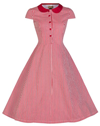 Lindy Bop 'Wendy' Vintage 1950's Candy Stripe Peter Pan Collar Shirt Dress
