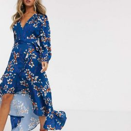 Liquorish ruffle wrap maxi in blue floral