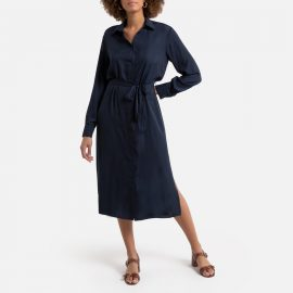 Button-Through Midi Shirt Dress with Long Sleeves at La Redoute
