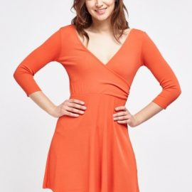 Low Neck Asymmetric Wrap Skater Dress at Everything 5 Pounds