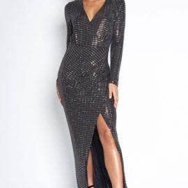 Luxe Sparkle Wrap Full Length Dress at Vestry Online