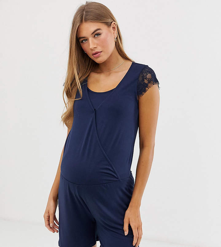 Mama.Licious Mamalicious maternity nursing lace trim jersey playsuit in blue