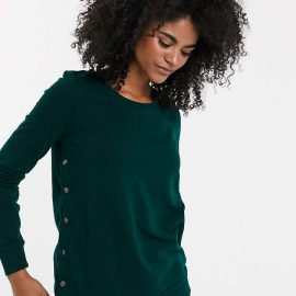 Mama.Licious Mamalicious nursing side button sweatshirt in green