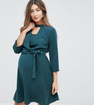 Mama.licious Mamalicious Nursing Wrap Dress With Choker Detail