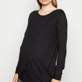 Maternity Black Long Sleeve Wrap Nursing Top New Look at New Look UK