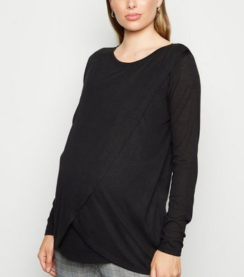 Maternity Black Long Sleeve Wrap Nursing Top New Look at New Look UK