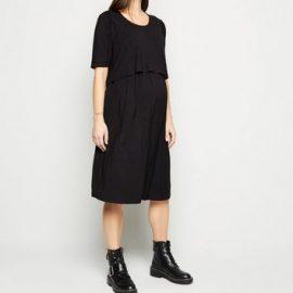 Maternity Black Short Sleeve Midi Nursing Dress New Look at New Look UK