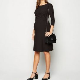 Maternity Black Twist Front Nursing Dress New Look at New Look UK
