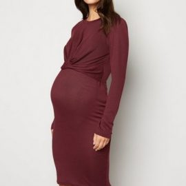 Maternity Burgundy Fine Knit Twist Nursing Dress New Look at New Look UK