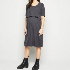 Maternity Dark Grey Short Sleeve Midi Nursing Dress New Look at New Look UK